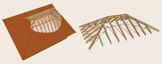 Как построить четырехскатную (вальмовую) крышу своими руками.  Строительство вальмовой четырехскатной крыши дома...