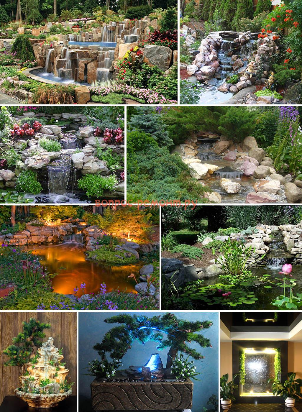 Декоративный водопад с отделкой из натурального бамбука